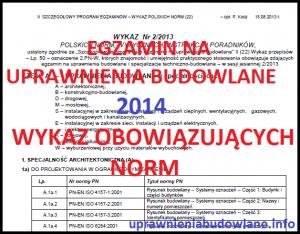 Egzamin na uprawnienia budowlane 2014 - wykaz obowiązujących norm.